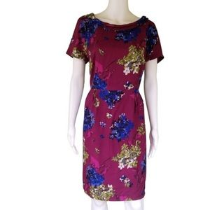 BODEN Sz 4 Wine Floral Rolled Neck Silky